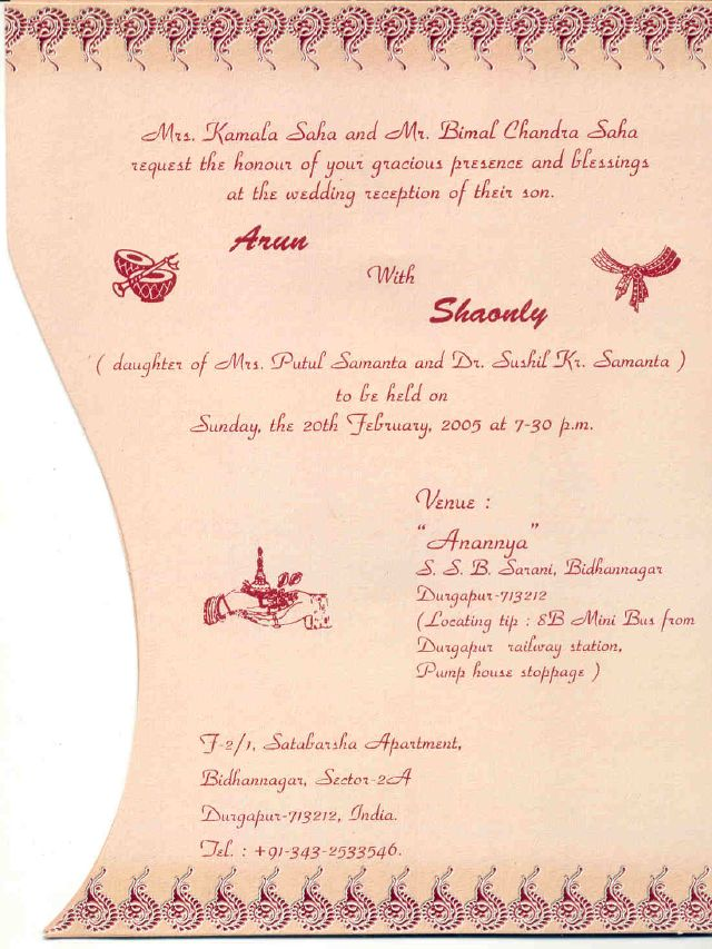 Bengali Wedding Invitation Card Matter In English - Custom ...